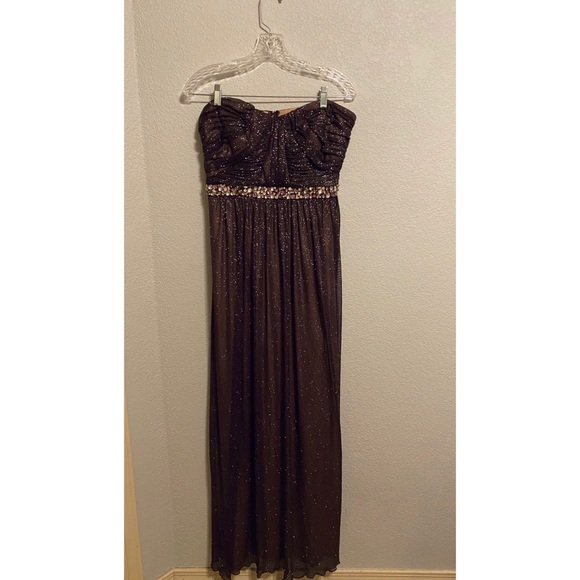 City Studio Dresses & Skirts - Deep Plum Strapless Sparkly Evening Gown
